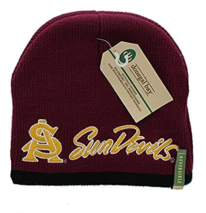112d81cc299be Image Unavailable. Image not available for. Color  New Arizona State Sun Devils  Embroidered Beanie Hat Reversible Knit ...