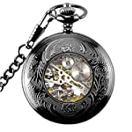 Steampunk Golden Gears Copper Case Skeleton Mechanical Pendant Pocket Watch with Chain/Gift Box 14