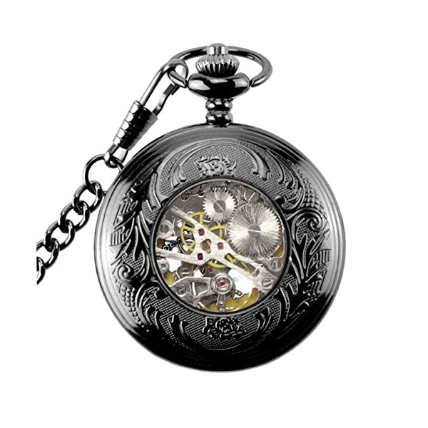 Steampunk Golden Gears Copper Case Skeleton Mechanical Pendant Pocket Watch with Chain/Gift Box 8