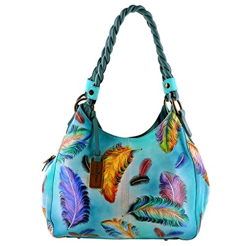 anuschka-genuine-leather-triple-compartment-shopper-w-braided-handle-floating-feathers