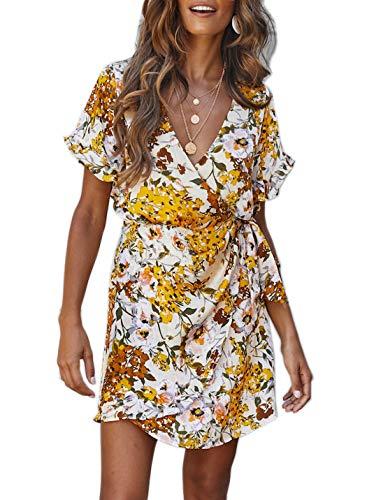 FFLMYUHUL I U Women Chic Deep V-Neck Flounces Sleeve Floral Print Ruffles Short Mini Dress Yellow ()