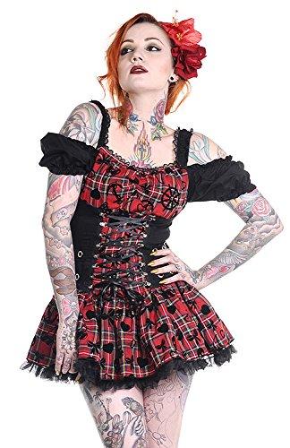 mit Kleid Schwarz Schnürung und schwarz rot und Ärmel Schwarz abisolierte Schulter Banned rqFx7tqP