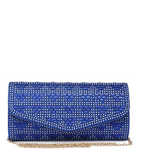Ladies Envelope Blue Handbag Clutch Evening Women's Diamante Glitter ME68023 Party Bag q1wW5rTnq