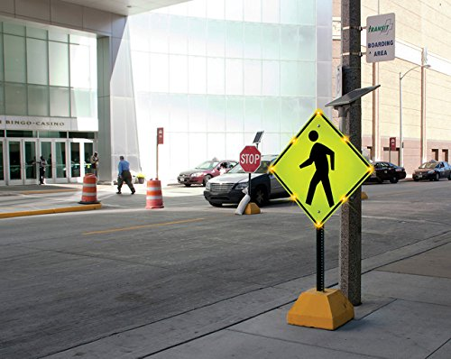 Tapco W11-2 BlinkerSign Diamond Solar Pedestrian Crossing Sign with 8 Fluorescent Yellow Green Flashing LEDs, 36'' Width x 36'' Height