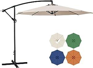 SUNHY 10 FT Patio Offset Umbrella Outdoor Cantilever Umbrella Hanging Umbrellas, Fade Resistant & Waterproof Fabric with Infinite Tilt, Crank & Cross Base (Beige)