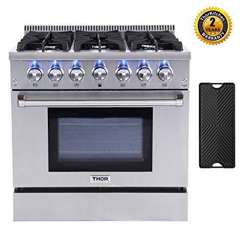 Thor Kitchen 36'' Gas Range HRG3618U with 5.2 cu.ft Convection Oven in Stainless Steel, 6 Burners & Cast Iron Grates, Cast-Iron Reversible Griddle