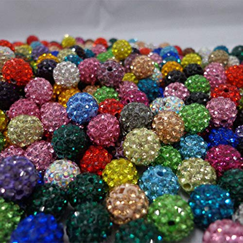 Pukido 6 Rows DIY Rhinestone Beads Jewelry Cubic Zirconia Crystal Beads 10mm Micro Pave CZ Disco Ball Beads Mix Colors SHBE11 Color: Red