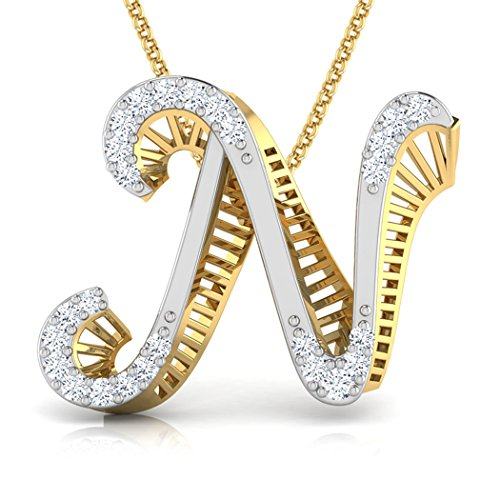 14K Or blanc 0,13CT TW Round-cut-diamond (IJ | SI) Pendentif