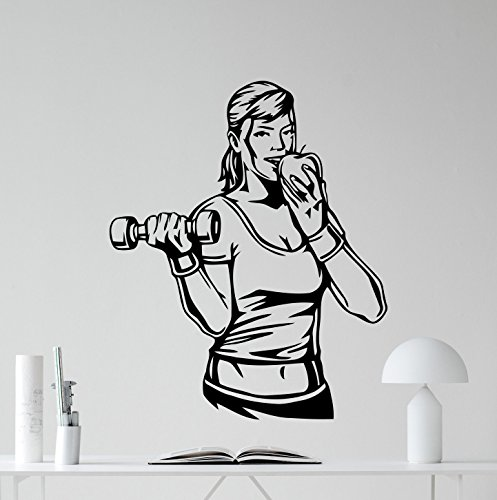 A Top Decals Sport Nutrition Fitness Wall Decal Healthy Lifestyle Gym Fitness Vinyl Sticker Fitness Motivation Sports Wellness Gym Wall Art Design Inspirational Gym Quote Decor Wall Mural ()
