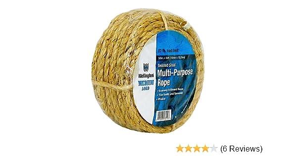 """WELLINGTON CORDAGE 18090 Natural Twist Sisal Rope 3//8/"""" x 50/'"""