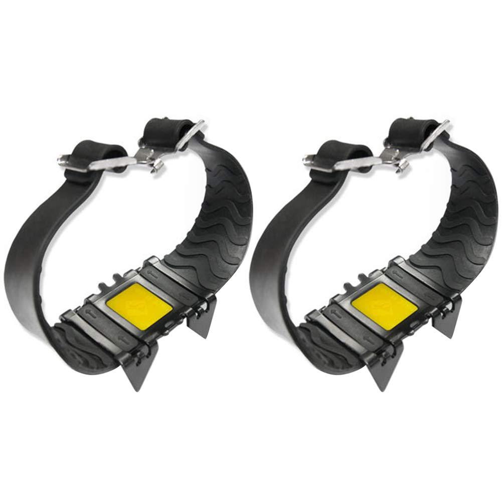 merymall Grampones Antideslizantes de Cuatro Dientes, Cubierta de Zapato elástico Universal Acero Inoxidable Adecuado para el Alpinismo de esquí al Aire Libre