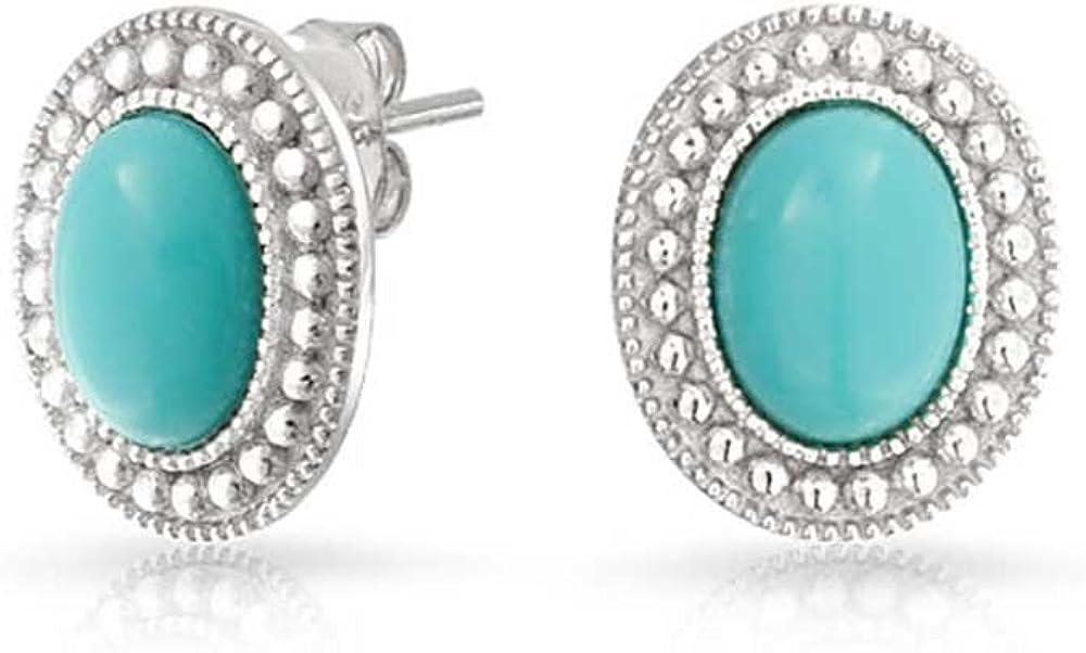 Piedras Preciosa Azul Turquesa Comprimido Cordón Bisel Halo Pendiente De Boton Oval Para Mujer 925 Plata De Ley 925
