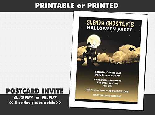 Haunted House Halloween Party Invitation, Printable or Printed Option -