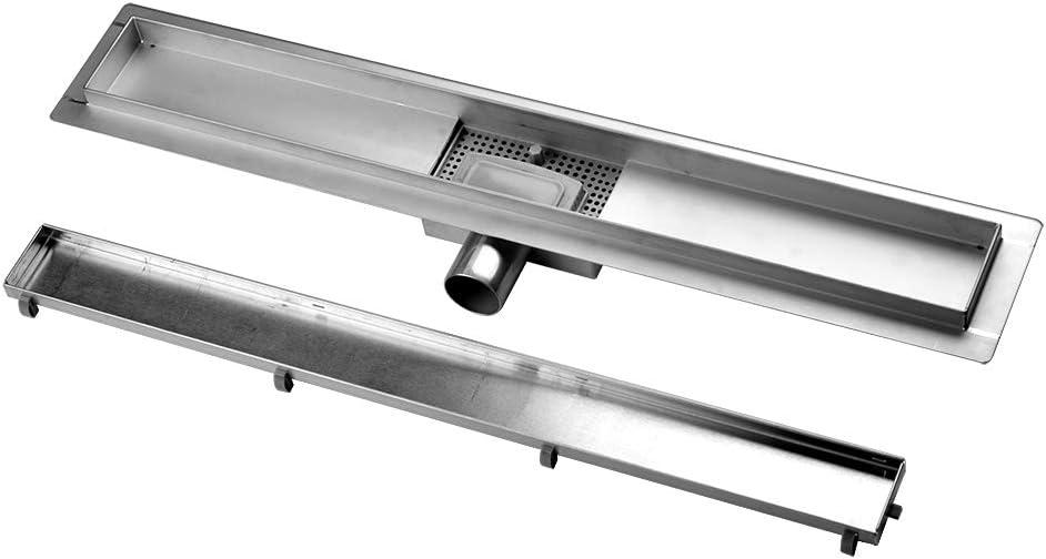 S SIENOC Desagüe de ducha de acero inoxidable extremadamente plano- Rejilla de ducha de desagüe de suelo de baño de acero inoxidable baño largo invisible - diseño moderno líneas (80cm, Alicatable): Amazon.es: