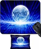 MSD Mouse Wrist Rest and Small Mousepad Set, 2pc Wrist Support design 19277058 Abstract IT background transparent earth globe bright blue characters information transfer in network