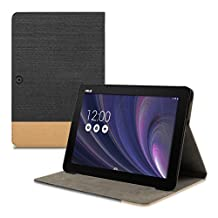 kwmobile Elegant canvas synthetic leather case for Asus Memo Pad 10 ME103K in black brown with convenient STAND FEATURE
