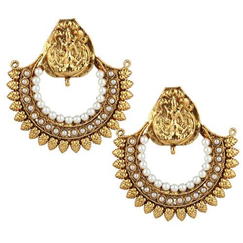 Ethnic leaves goddess lakshmi motif ram leela colourful stone earring PSEAZ012WH