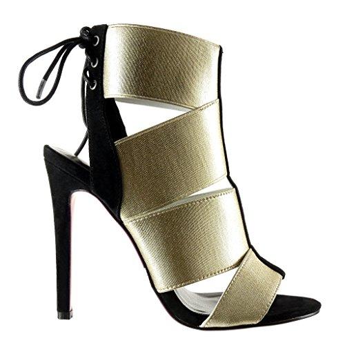 Angkorly - damen Schuhe Sandalen Stiefeletten - Stiletto - Sexy - String Tanga - Multi-Zaum - Spitze Stiletto high heel 12 CM - Gold