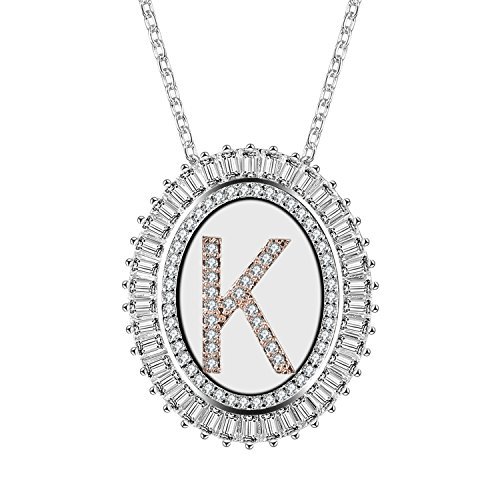 Caperci Oval Two-Tone Cubic Zirconia Alphabet Initial Letter K Pendant Necklace for Women, 18