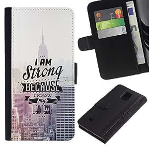 LECELL--Cuero de la tarjeta la carpeta del tirón Smartphone Slots Protección Holder For Samsung Galaxy Note 4 IV -- EMPIRE STATE BUILDING TIPOGRAFÍA --