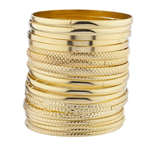 (Lux Accessories Gold Tone Multi Textured and Smooth Aztec Bangle Set)