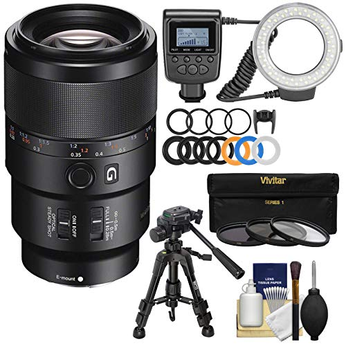 (Sony Alpha E-Mount FE 90mm f/2.8 Macro G OSS Lens with Ring Light + Macro Tripod + 3 UV/CPL/ND8 Filters + Kit for A7, A7R, A7S Mark II Cameras)