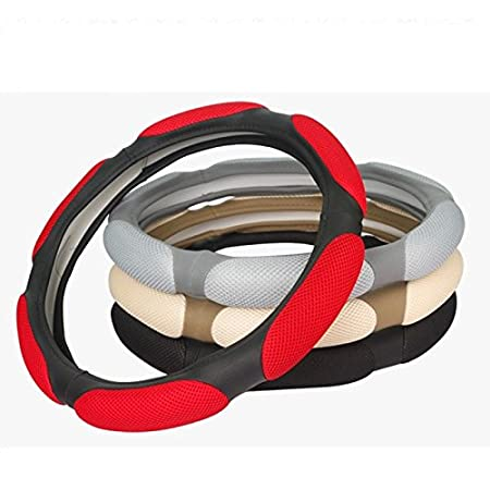 Pouybie Housses de Volant Voiture en Cuir Respirant pour Voiture Protection Universelle antid/érapante Caches de volant Beige,38cm
