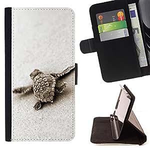 BullDog Case - FOR/Sony Xperia Z3 D6603 / - / turtle baby tortoise sand nature animal /- Monedero de cuero de la PU Llevar cubierta de la caja con el ID Credit Card Slots Flip funda de cuer