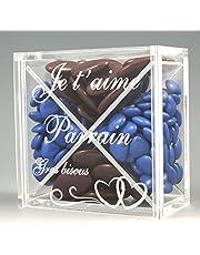Boite pour Dragées PARRAIN - Cœur - Baptême & Communion