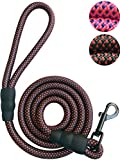 """Dog Leash Rope Leash - 2/5 Inch Thick 6 Feet Long - Quality Thick Nylon Rope - Soft Handle and Light Weight Pet Training Lead - for Small Medium Large Dogs (2/5"""" X 6', Black)"""