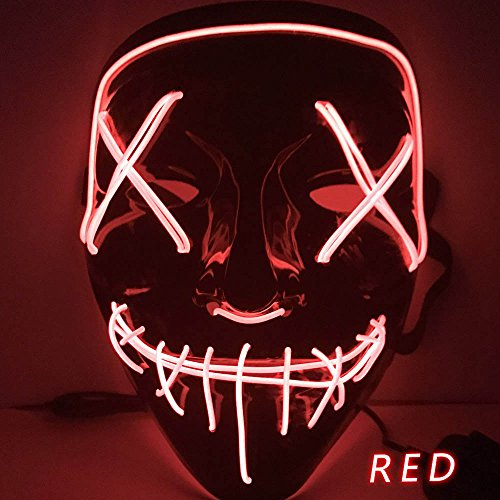 Kangkang Halloween Mask LED Light up Funny Masks The Purge Election Year Great Festival Cosplay Costume Supplies Party Masks Glow in Dark (Red)