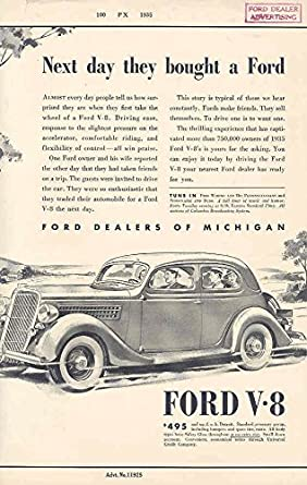 3ba4398a0 Amazon.com: 1935 Ford Dealer Ad Proof Poster: Entertainment Collectibles