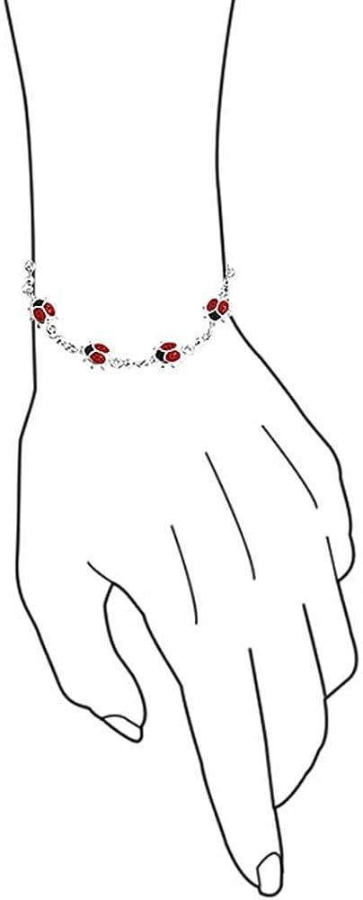 Bling Jewelry Lucky Red Ladybugs Petite Station D/Émail pour Femme Ados Bracelet en Argent Sterling 925