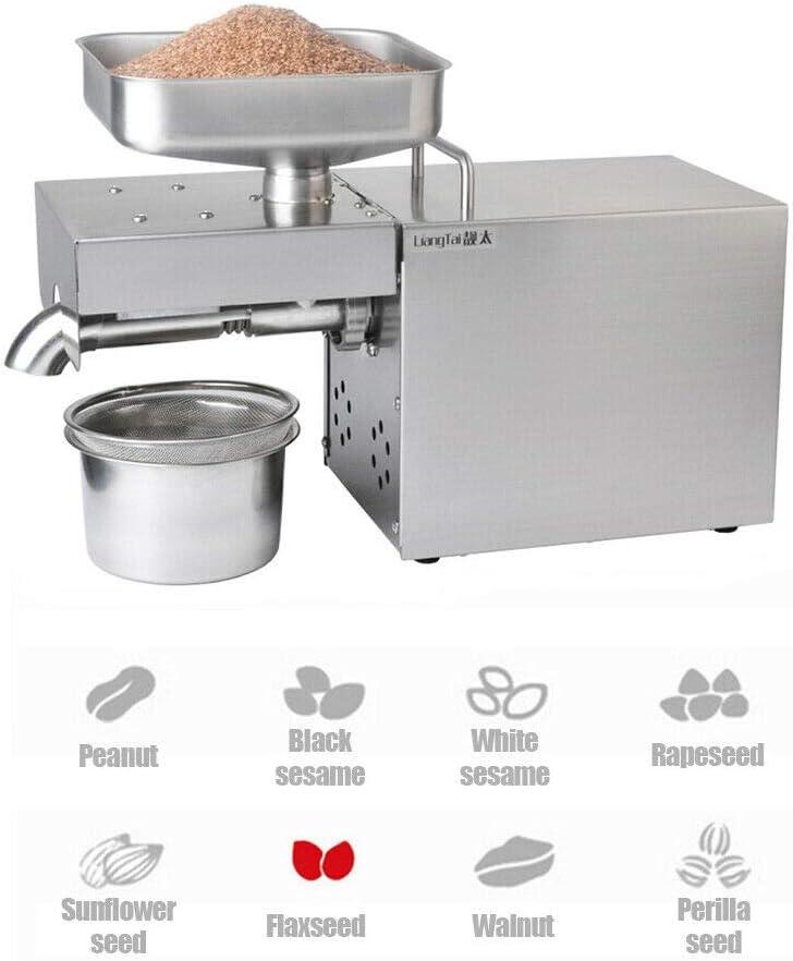 Máquina automática para la prensa de aceite Extractor de aceite de 1500 W de grado comercial Expulsor de aceite para aguacate Coco Lino Oliva Cacahuete de ricino Semilla de cáñamo Sésamo Girasol