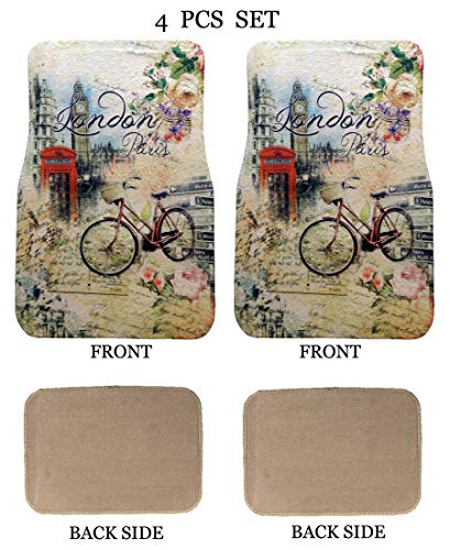 ALLBrand Universal Fit Front/Rear 4-Piece Full Set Sublimation Print Custom Design Carpet Car SUV Truck Floor Mats (London/Beige) ()