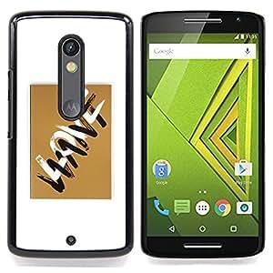 - Love Letters Want Golden Brown White/ Duro Snap en el tel????fono celular de la cubierta - Cao - For Motorola Verizon DROID MAXX 2 / Moto X Play