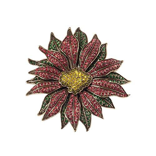 Heidi Daus Poinsettia Flower Pin Multi Color SWAROVSKI CRYSTAL BIG BOLD BEAUTIFUL MUST HAVE! by Heidi Daus