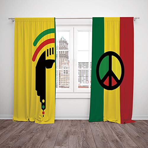 - SCOCICI Polyester Window Drapes Kitchen Curtains [ Rasta,Iconic Barret Reggae Jamaican Music Culture Peace Symbol Borders Decorative,Red Green Yellow] Bedroom Living Room Dorm Kitchen Cafe