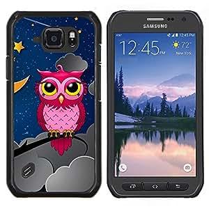 TECHCASE---Cubierta de la caja de protección para la piel dura ** Samsung Galaxy S6 Active G890A ** --Búho rosado En la Noche