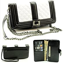"""ZZYBIA® Black and White Crossbody / Wristlet Clutch 2 way Coin Zip Mobile Case Wallet Card Holder with Detechable Long Chain For most smartphones up to 6.5"""" x 3.5"""""""