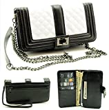 ZZYBIA® Black and White Crossbody / Wristlet Clutch 2 way Coin Zip Mobile Case Wallet Card Holder with Detechable Long Chain For Apple iPhone 6 Plus / Universal fit most smartphones up to 6.5' x 3.5'