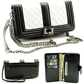 """ZZYBIA® Black and White Crossbody / Wristlet Clutch 2 way Coin Zip Mobile Case Wallet Card Holder with Detechable Long Chain For Apple iPhone 6 Plus / Universal fit most smartphones up to 6.5"""" x 3.5"""""""