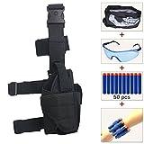 Kids Adjustable Tactical Leg Holster Kit (comes with 50pcs Blue Foam Darts+Protective Goggles+Seamless Skull Face Mask+2pcs Refill Darts Wrist Belt) for Nerf Toy Gun N-strike Elite Series