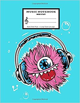 music notebook wide staff blank sheet music 6 staves per page teal headphone monster manuscript paper staff paper musicians composition books