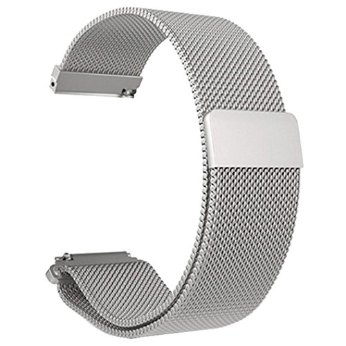 Price comparison product image Lisin Replacement WirstBand,  Milanese Magnetic Loop Stainless Steel Bracelet Watch Band Strap For Xiaomi Huami Amazfit Bip Youth Watch (Silver)