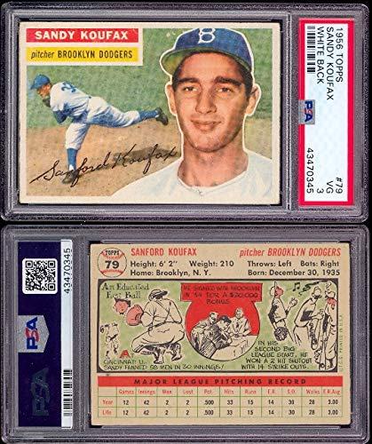 1956 Topps Regular (Baseball) Card# 79 Sandy Koufax (psa) of the Brooklyn Dodger VG - 1956 Topps Baseball