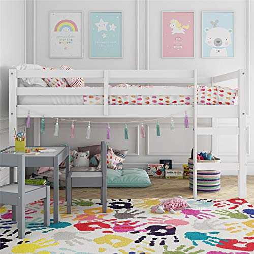 Dorel Living Milton Junior Twin Loft Bed, White - Low Loft Bunk Bed