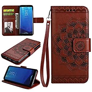 Protective Case Compatible with Samsung Embossed Half Flower Design [Wrist Strap] Premium PU Leather Wallet Pouch Flip Stand Case Compatible Samsung Galaxy S8 Phone case (Color : Brown)