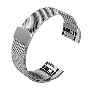 """Fitbit Charge 2 Bands, Winner Outfitters Milanese Loop Stainless Steel Replacement Accessories with Magnetic Metal Lock Small & Large Bands for Fitbit Charge 2, 5.5"""" - 8.5"""",Silver/Small"""