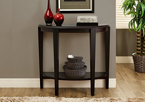 Half Moon Hall Table - Monarch Specialties Cappuccino Hall Console Accent Table, 36-Inch